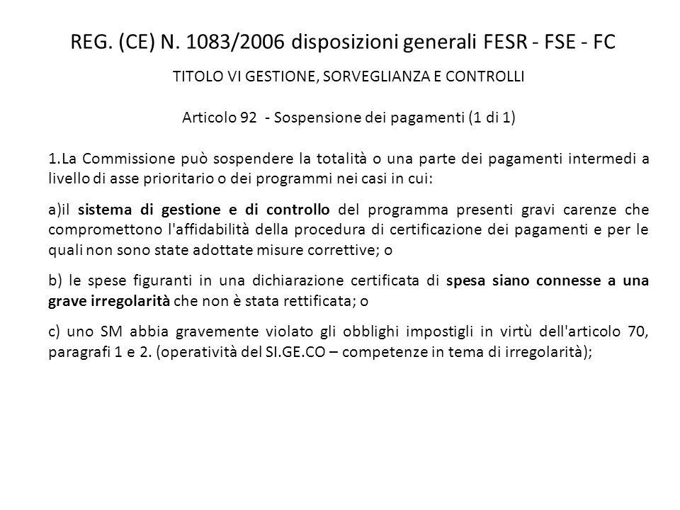 REG. (CE) N. 1083/2006 disposizioni generali FESR - FSE - FC TITOLO VI GESTIONE, SORVEGLIANZA E CONTROLLI Articolo 92 - Sospensione dei pagamenti (1 d
