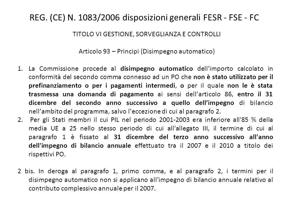 TITOLO VI GESTIONE, SORVEGLIANZA E CONTROLLI Articolo 93 – Principi (Disimpegno automatico) 1.La Commissione procede al disimpegno automatico dellimpo