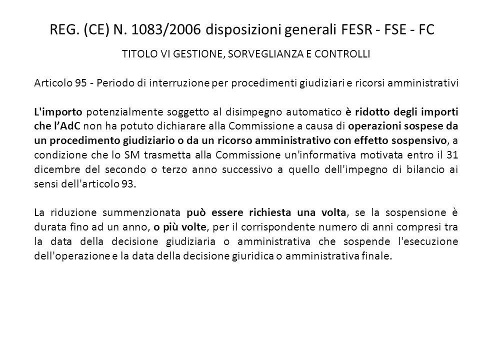 REG. (CE) N. 1083/2006 disposizioni generali FESR - FSE - FC TITOLO VI GESTIONE, SORVEGLIANZA E CONTROLLI Articolo 95 - Periodo di interruzione per pr