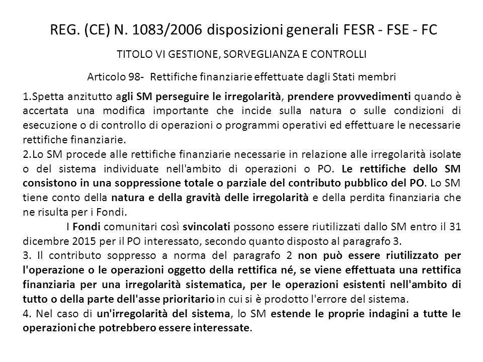 REG. (CE) N. 1083/2006 disposizioni generali FESR - FSE - FC TITOLO VI GESTIONE, SORVEGLIANZA E CONTROLLI Articolo 98- Rettifiche finanziarie effettua