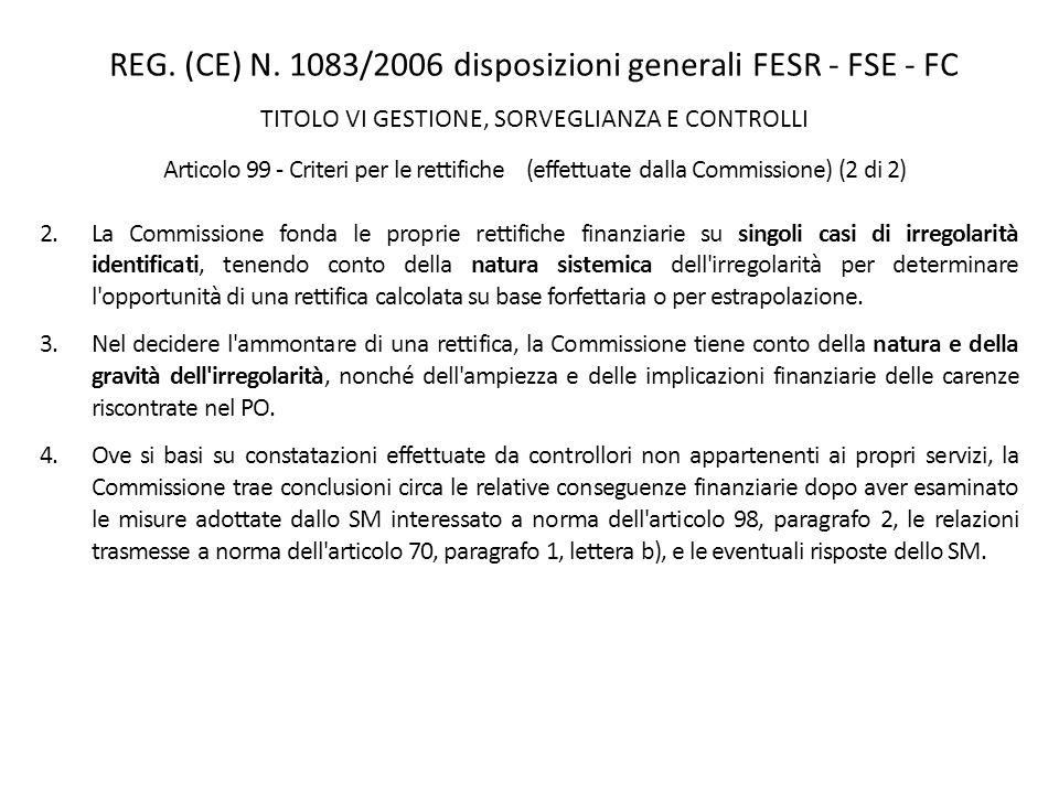 REG. (CE) N. 1083/2006 disposizioni generali FESR - FSE - FC TITOLO VI GESTIONE, SORVEGLIANZA E CONTROLLI Articolo 99 - Criteri per le rettifiche (eff