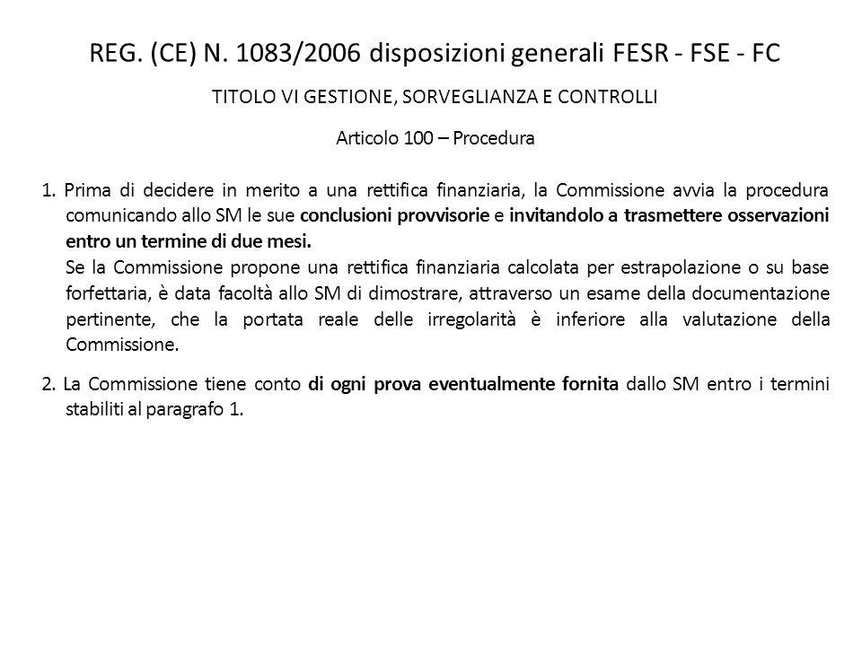 REG. (CE) N. 1083/2006 disposizioni generali FESR - FSE - FC TITOLO VI GESTIONE, SORVEGLIANZA E CONTROLLI Articolo 100 – Procedura 1. Prima di decider
