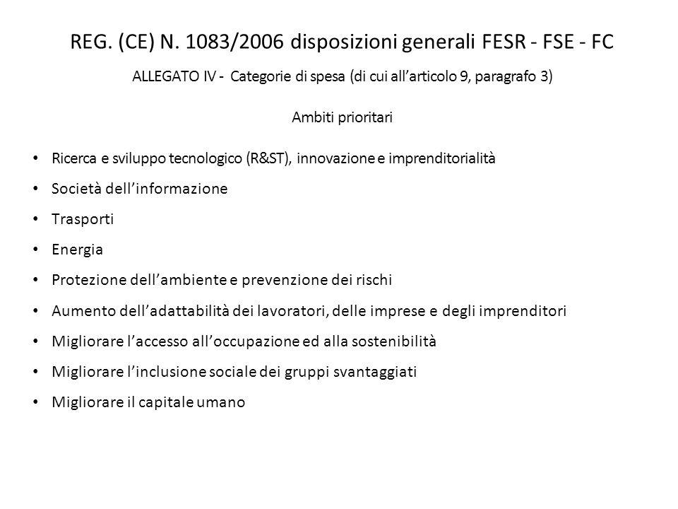 REG. (CE) N. 1083/2006 disposizioni generali FESR - FSE - FC ALLEGATO IV - Categorie di spesa (di cui allarticolo 9, paragrafo 3) Ambiti prioritari Ri