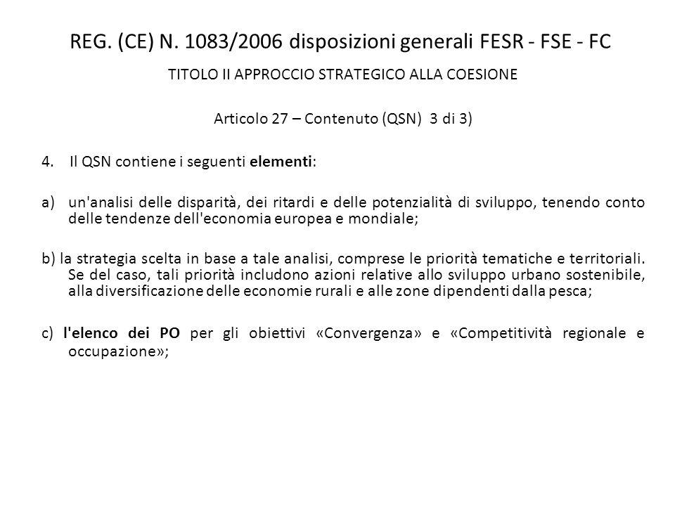 REG. (CE) N. 1083/2006 disposizioni generali FESR - FSE - FC TITOLO II APPROCCIO STRATEGICO ALLA COESIONE Articolo 27 – Contenuto (QSN) 3 di 3) 4. Il
