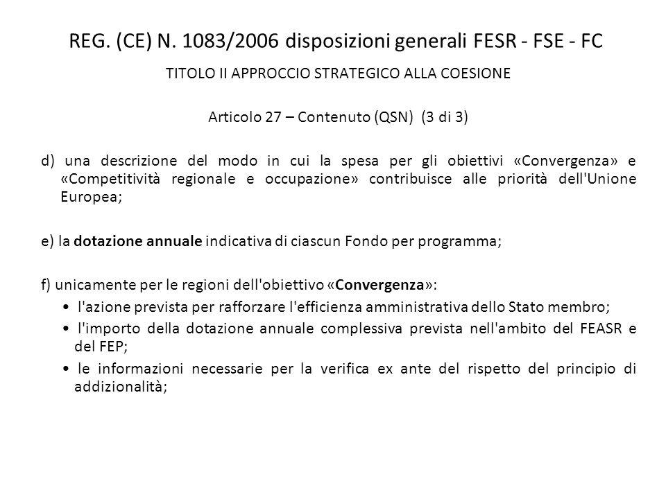 REG. (CE) N. 1083/2006 disposizioni generali FESR - FSE - FC TITOLO II APPROCCIO STRATEGICO ALLA COESIONE Articolo 27 – Contenuto (QSN) (3 di 3) d) un
