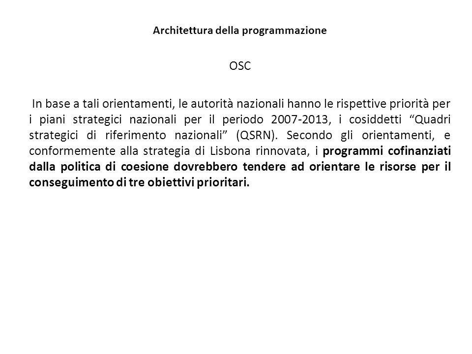 Architettura della programmazione OSC In base a tali orientamenti, le autorità nazionali hanno le rispettive priorità per i piani strategici nazionali per il periodo 2007-2013, i cosiddetti Quadri strategici di riferimento nazionali (QSRN).