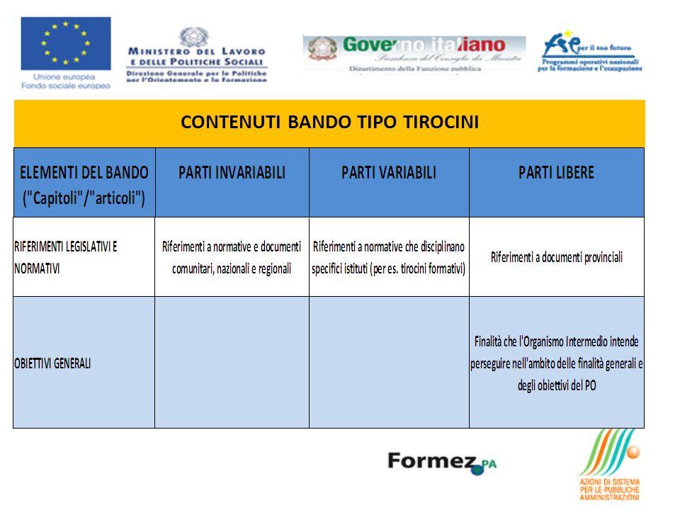 CONTENUTI BANDO TIPO TIROCINI
