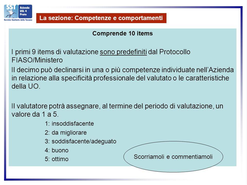 Comprende 10 items I primi 9 items di valutazione sono predefiniti dal Protocollo FIASO/Ministero Il decimo può declinarsi in una o più competenze individuate nellAzienda in relazione alla specificità professionale del valutato o le caratteristiche della UO.