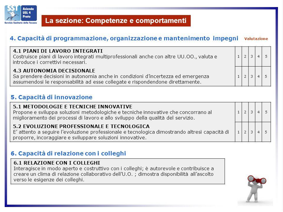 La sezione: Competenze e comportamenti Valutazione 4.1 PIANI DI LAVORO INTEGRATI Costruisce piani di lavoro integrati multiprofessionali anche con altre UU.OO., valuta e introduce i correttivi necessari.