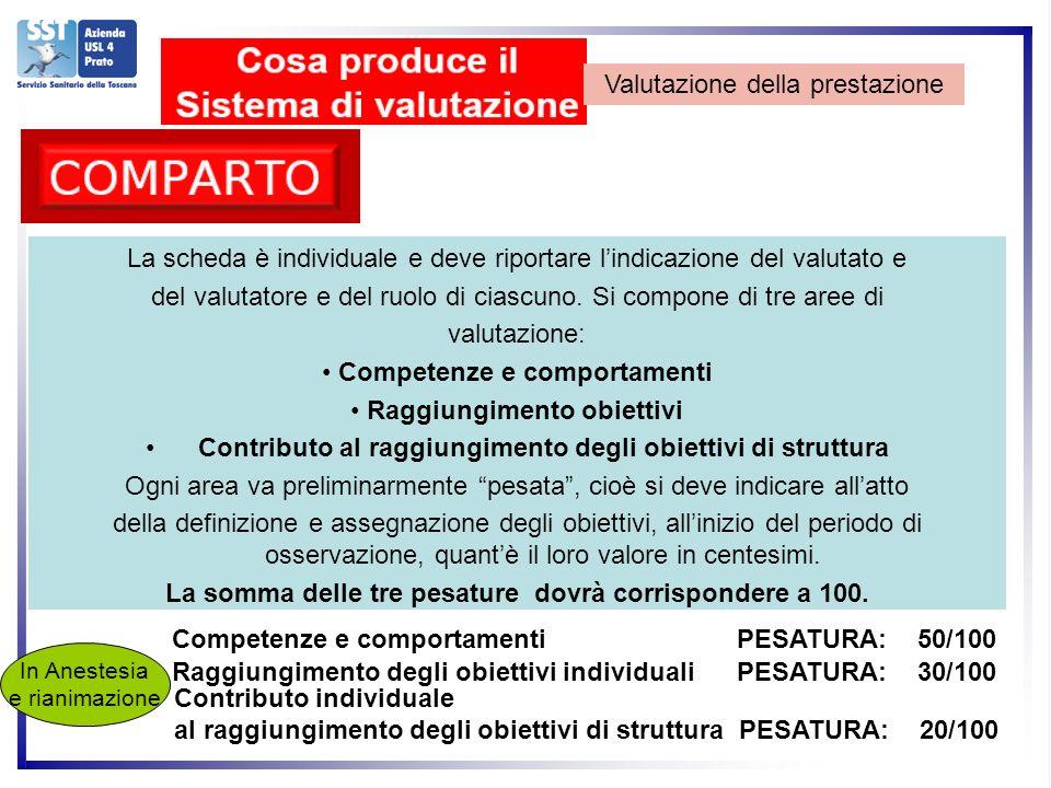 Valutazione della prestazione La scheda è individuale e deve riportare lindicazione del valutato e del valutatore e del ruolo di ciascuno.