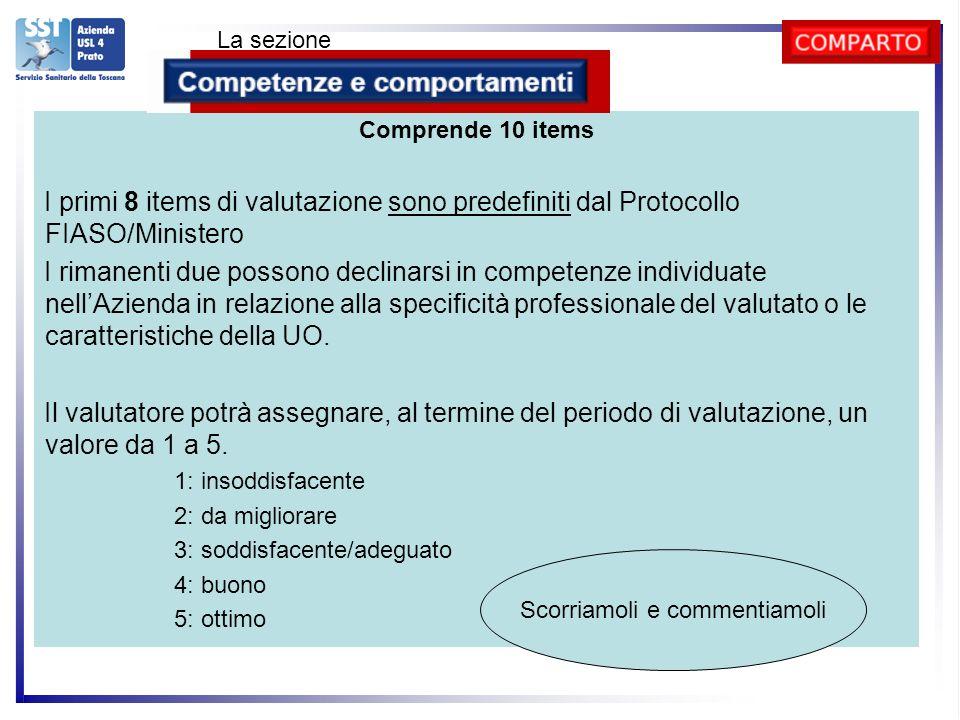 Comprende 10 items I primi 8 items di valutazione sono predefiniti dal Protocollo FIASO/Ministero I rimanenti due possono declinarsi in competenze individuate nellAzienda in relazione alla specificità professionale del valutato o le caratteristiche della UO.