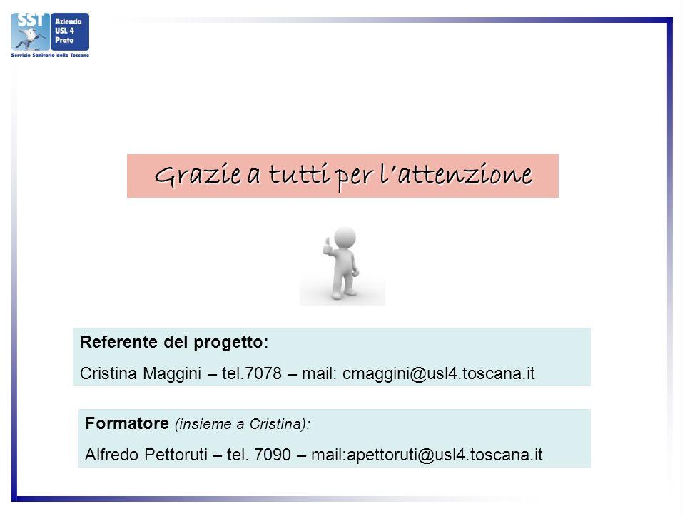 Grazie a tutti per lattenzione Referente del progetto: Cristina Maggini – tel.7078 – mail: cmaggini@usl4.toscana.it Formatore (insieme a Cristina): Alfredo Pettoruti – tel.