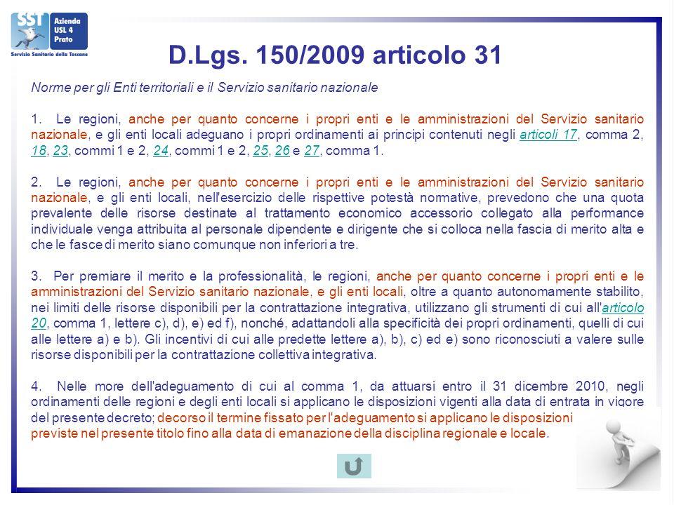 D.Lgs. 150/2009 articolo 31 Norme per gli Enti territoriali e il Servizio sanitario nazionale 1.