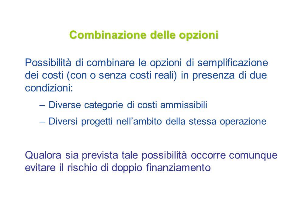 Combinazione delle opzioni Possibilità di combinare le opzioni di semplificazione dei costi (con o senza costi reali) in presenza di due condizioni: –