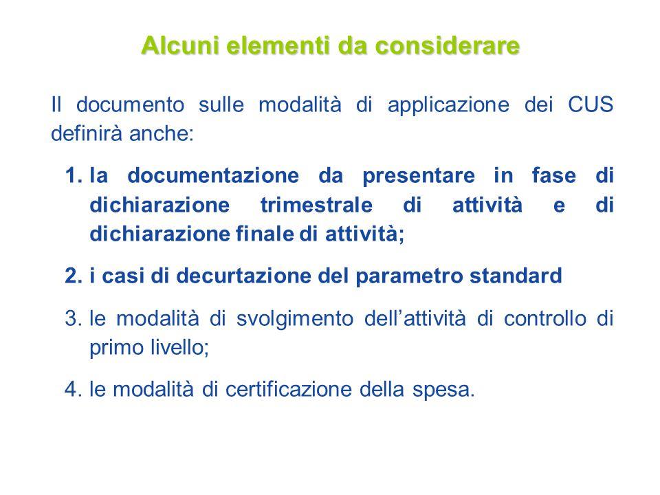 18 Alcuni elementi da considerare Il documento sulle modalità di applicazione dei CUS definirà anche: 1.la documentazione da presentare in fase di dic