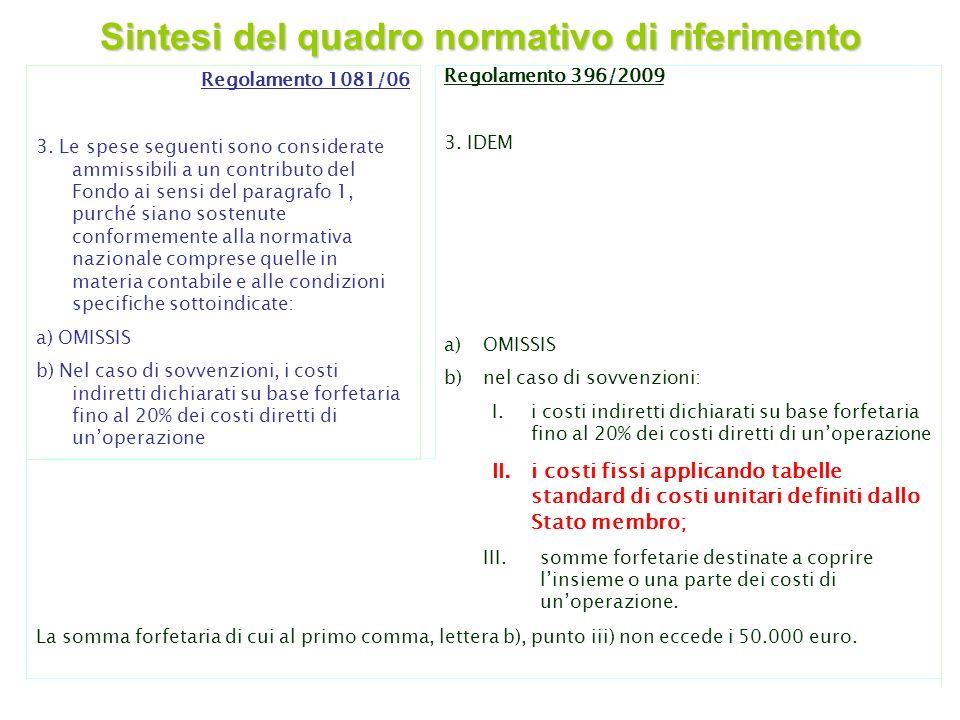 2 Regolamento 396/2009 3. IDEM a)OMISSIS b)nel caso di sovvenzioni: I.i costi indiretti dichiarati su base forfetaria fino al 20% dei costi diretti di