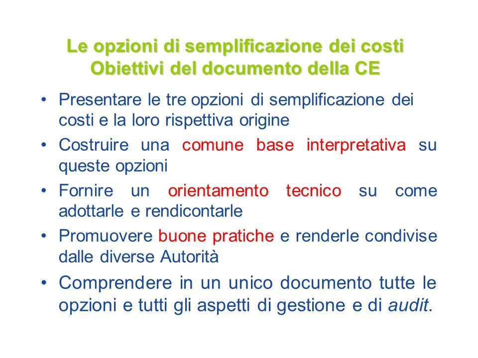Le opzioni di semplificazione dei costi Obiettivi del documento della CE Presentare le tre opzioni di semplificazione dei costi e la loro rispettiva o