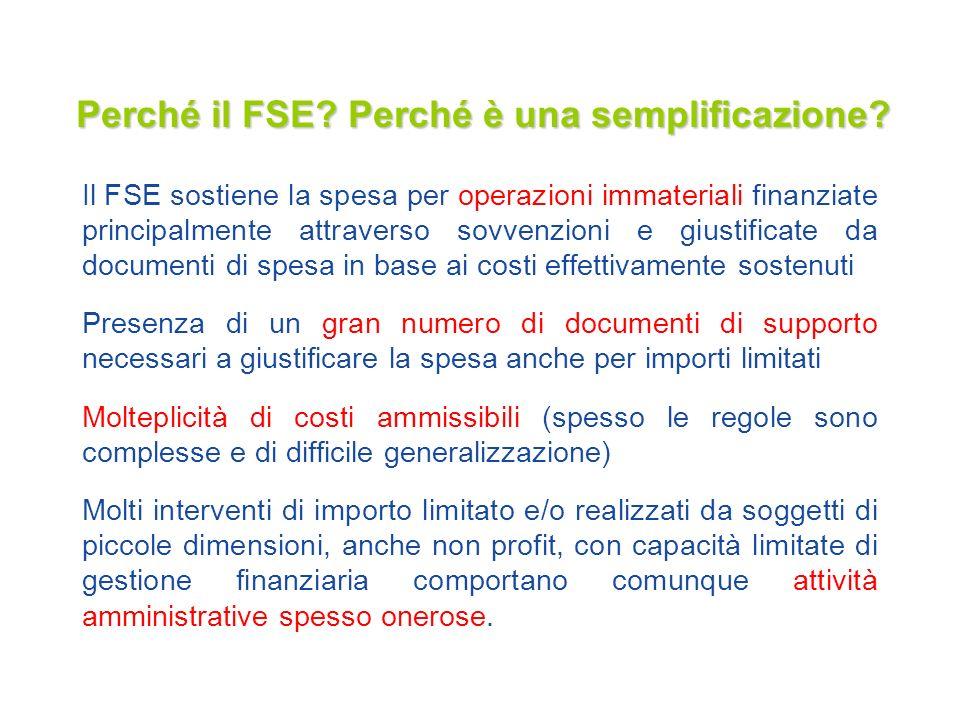 Perché il FSE? Perché è una semplificazione? Il FSE sostiene la spesa per operazioni immateriali finanziate principalmente attraverso sovvenzioni e gi