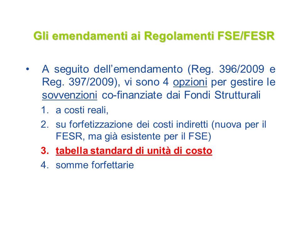 Gli emendamenti ai Regolamenti FSE/FESR A seguito dellemendamento (Reg. 396/2009 e Reg. 397/2009), vi sono 4 opzioni per gestire le sovvenzioni co-fin