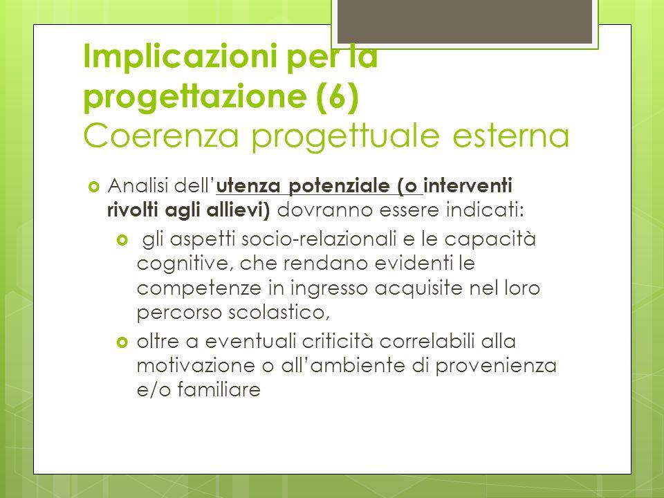Implicazioni per la progettazione (6) Coerenza progettuale esterna Analisi dell utenza potenziale (o interventi rivolti agli allievi) dovranno essere