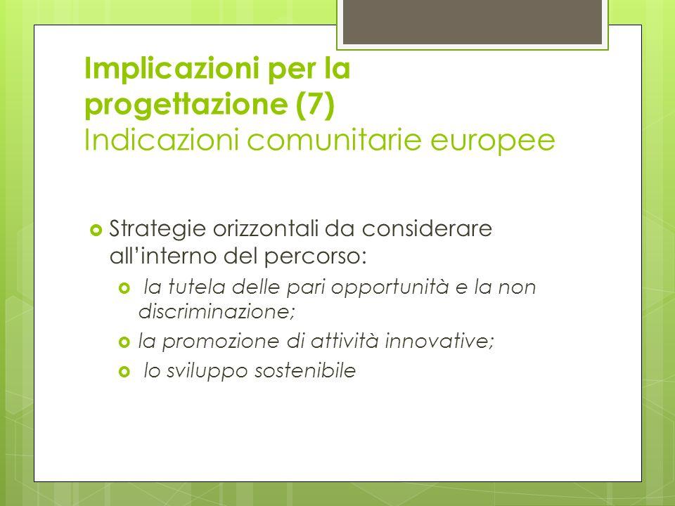 Implicazioni per la progettazione (7) Indicazioni comunitarie europee Strategie orizzontali da considerare allinterno del percorso: la tutela delle pari opportunità e la non discriminazione; la promozione di attività innovative; lo sviluppo sostenibile