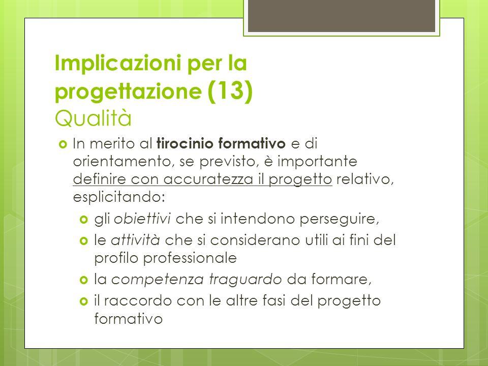 Implicazioni per la progettazione (13) Qualità In merito al tirocinio formativo e di orientamento, se previsto, è importante definire con accuratezza