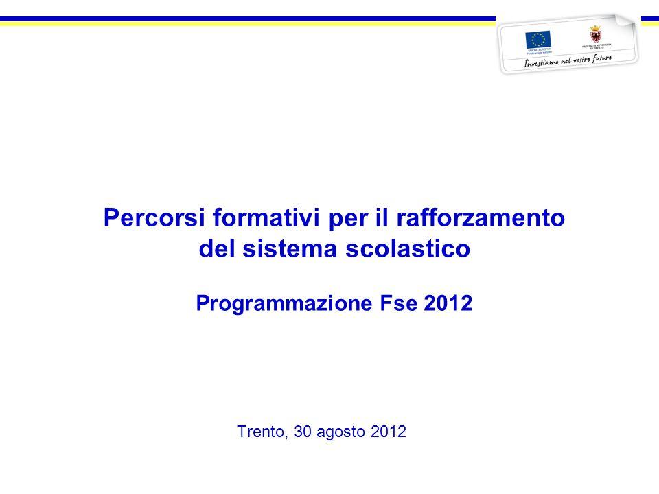 I percorsi formativi per il rafforzamento del sistema scolastico Operazioni a bando - Programmazione 2012 3G.11 PERCORSI DI ACCOMPAGNAMENTO ALLINSERIMENTO DI GIOVANI IN SITUAZIONI DI DISABILITÀ O CON DISTURBI SPECIFICI DI APPRENDIMENTO ALLINTERNO DEI PERCORSI SCOLASTICI E/O FORMATIVI 100.000 4H.05 INTEGRAZIONE TRA I SISTEMI DELLISTRUZIONE SECONDARIA DI SECONDO GRADO E DELLA ISTRUZIONE E FORMAZIONE PROFESSIONALE 250.000 4H.07INNOVAZIONE TECNOLOGICA NELLA DIDATTICA DELLISTRUZIONE E DELLA FORMAZIONE PROFESSIONALE 100.000 4H.08ATTIVITA DI ORIENTAMENTO 100.000 4H.09 INTERVENTI DI RINFORZO MOTIVAZIONALE, SUPPORTO E PREVENZIONE DEL DISAGIO EDUCATIVO E DELLABBANDONO SCOLASTICO 225.000 4I.02 ATTIVAZIONE DI INTERVENTI INTEGRATIVI DEI CURRICULA SCOLASTICI AL FINE DI FAVORIRNE LA VALENZA PROFESSIONALIZZANTI 1.150.000 4I.04 ATTIVAZIONE DI AZIONI DI SUPPORTO ALLISTRUZIONE SECONDARIA DI SECONDO GRADO ATTRAVERSO MODULI PROFESSIONALIZZANTI E LABORATORI DIMPRESA 200.000 4I.07 AZIONI DI SUPPORTO ALL ISTRUZIONE SECONDARIA DI SECONDO GRADO ED ALLA ISTRUZIONE E FORMAZIONE PROFESSIONALE PER LA VALORIZZAZIONE DELLE ECCELLENZE 100.000