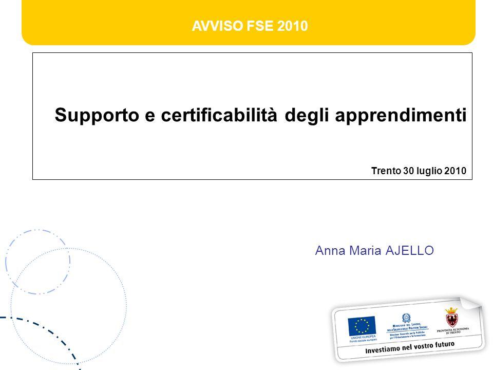 AVVISO FSE 2010 Supporto e certificabilità degli apprendimenti Trento 30 luglio 2010 Anna Maria AJELLO