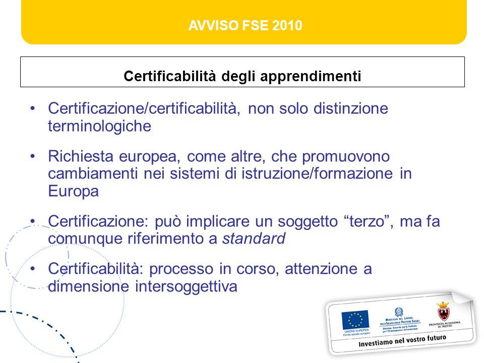 AVVISO FSE 2010 Certificabilità degli apprendimenti Certificazione/certificabilità, non solo distinzione terminologiche Richiesta europea, come altre, che promuovono cambiamenti nei sistemi di istruzione/formazione in Europa Certificazione: può implicare un soggetto terzo, ma fa comunque riferimento a standard Certificabilità: processo in corso, attenzione a dimensione intersoggettiva