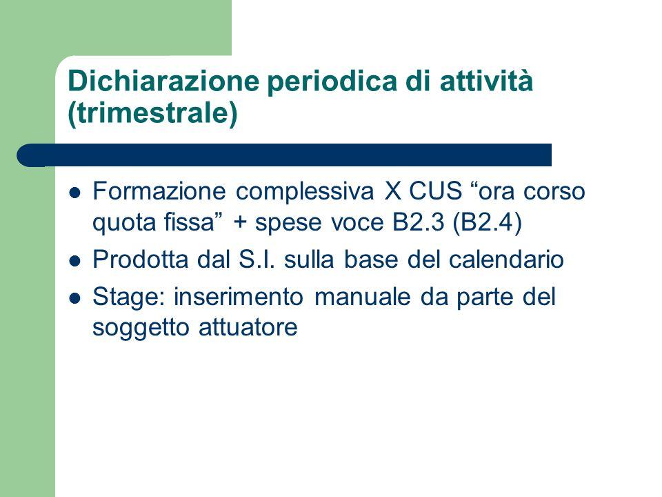 Dichiarazione periodica di attività (trimestrale) Formazione complessiva X CUS ora corso quota fissa + spese voce B2.3 (B2.4) Prodotta dal S.I. sulla