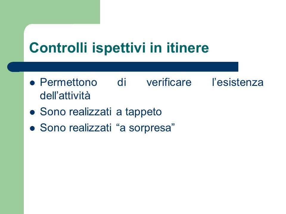 Controlli ispettivi in itinere Permettono di verificare lesistenza dellattività Sono realizzati a tappeto Sono realizzati a sorpresa