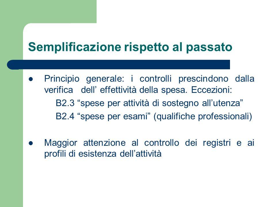Semplificazione rispetto al passato Principio generale: i controlli prescindono dalla verifica dell effettività della spesa. Eccezioni: B2.3 spese per