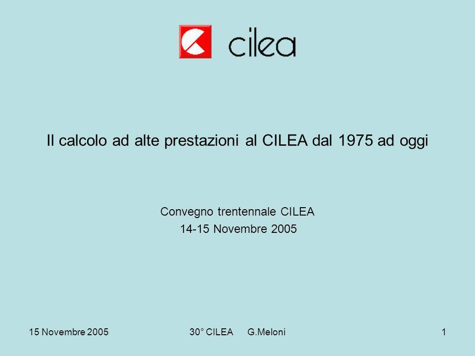 15 Novembre 200530° CILEA G.Meloni1 Il calcolo ad alte prestazioni al CILEA dal 1975 ad oggi Convegno trentennale CILEA 14-15 Novembre 2005