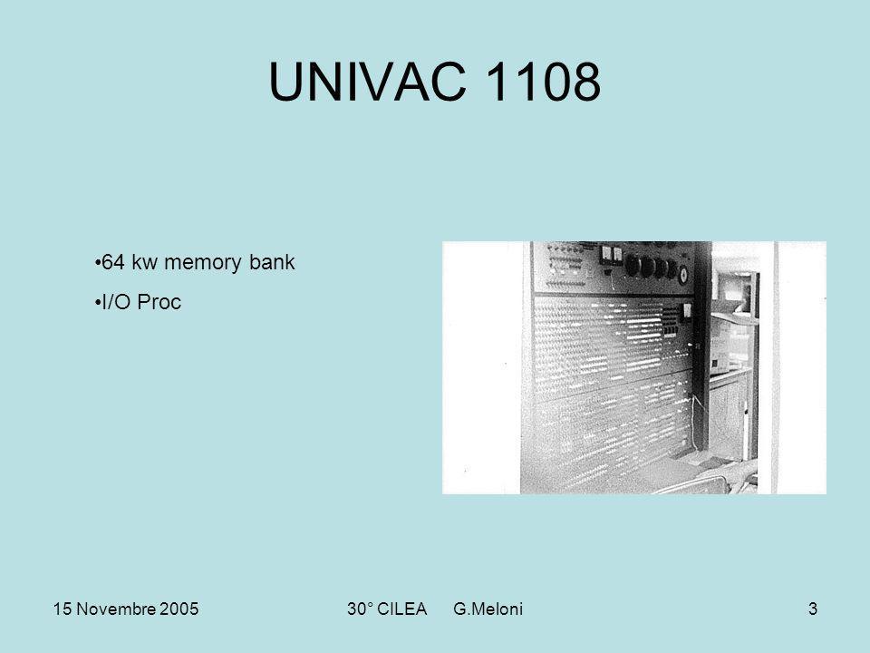 15 Novembre 200530° CILEA G.Meloni3 UNIVAC 1108 64 kw memory bank I/O Proc