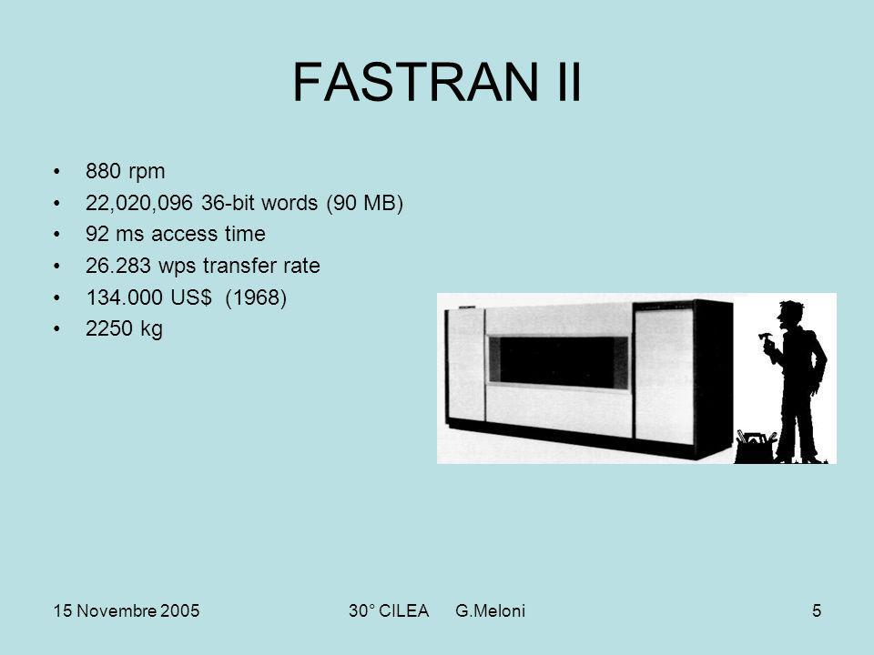 15 Novembre 200530° CILEA G.Meloni5 FASTRAN II 880 rpm 22,020,096 36-bit words (90 MB) 92 ms access time 26.283 wps transfer rate 134.000 US$ (1968) 2250 kg