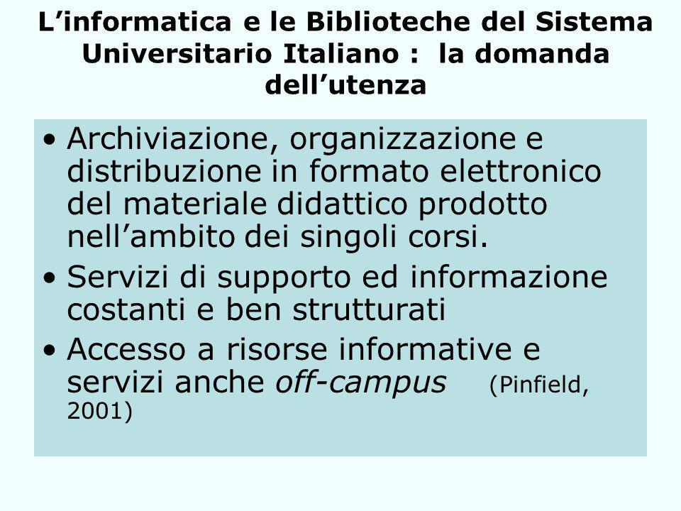 Linformatica e le Biblioteche del Sistema Universitario Italiano : la domanda dellutenza Archiviazione, organizzazione e distribuzione in formato elettronico del materiale didattico prodotto nellambito dei singoli corsi.