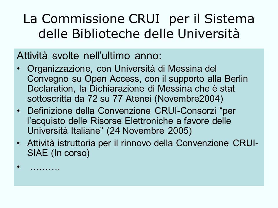 La Commissione CRUI per il Sistema delle Biblioteche delle Università Attività svolte nellultimo anno: Organizzazione, con Università di Messina del Convegno su Open Access, con il supporto alla Berlin Declaration, la Dichiarazione di Messina che è stat sottoscritta da 72 su 77 Atenei (Novembre2004) Definizione della Convenzione CRUI-Consorzi per lacquisto delle Risorse Elettroniche a favore delle Università Italiane (24 Novembre 2005) Attività istruttoria per il rinnovo della Convenzione CRUI- SIAE (In corso) ……….