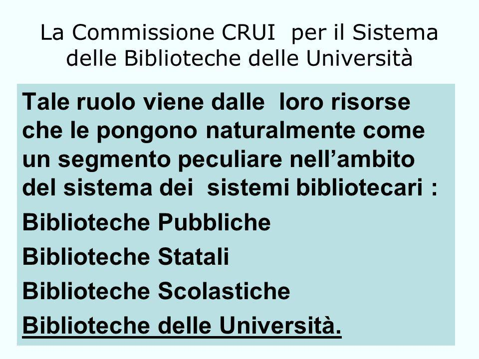 La Commissione CRUI per il Sistema delle Biblioteche delle Università Tale ruolo viene dalle loro risorse che le pongono naturalmente come un segmento peculiare nellambito del sistema dei sistemi bibliotecari : Biblioteche Pubbliche Biblioteche Statali Biblioteche Scolastiche Biblioteche delle Università.