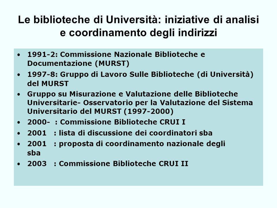 Linformatica e le Biblioteche di Università In Italia: Lavvento delle tecnologie informatiche : momento di grandi opportunità per le biblioteche di università: si può parlare di unoccasione mancata, o ritardata.