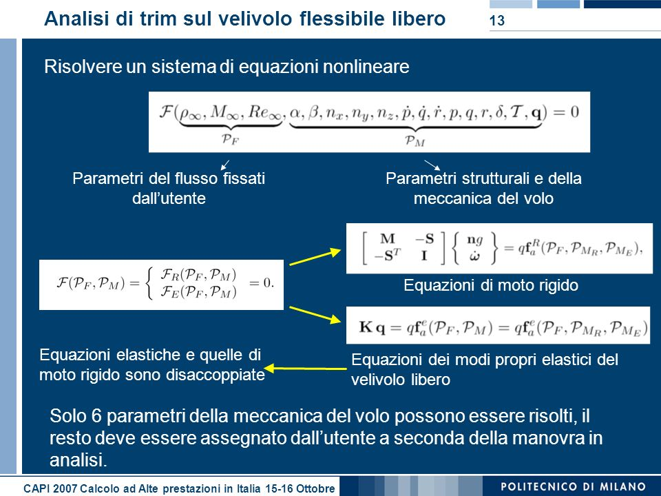 CAPI 2007 Calcolo ad Alte prestazioni in Italia 15-16 Ottobre 13 Analisi di trim sul velivolo flessibile libero Risolvere un sistema di equazioni nonl