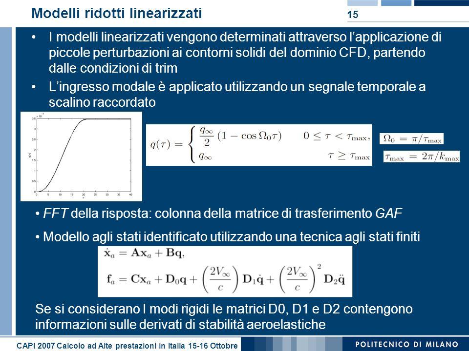 CAPI 2007 Calcolo ad Alte prestazioni in Italia 15-16 Ottobre 15 Modelli ridotti linearizzati I modelli linearizzati vengono determinati attraverso lapplicazione di piccole perturbazioni ai contorni solidi del dominio CFD, partendo dalle condizioni di trim Lingresso modale è applicato utilizzando un segnale temporale a scalino raccordato FFT della risposta: colonna della matrice di trasferimento GAF Modello agli stati identificato utilizzando una tecnica agli stati finiti Se si considerano I modi rigidi le matrici D0, D1 e D2 contengono informazioni sulle derivati di stabilità aeroelastiche