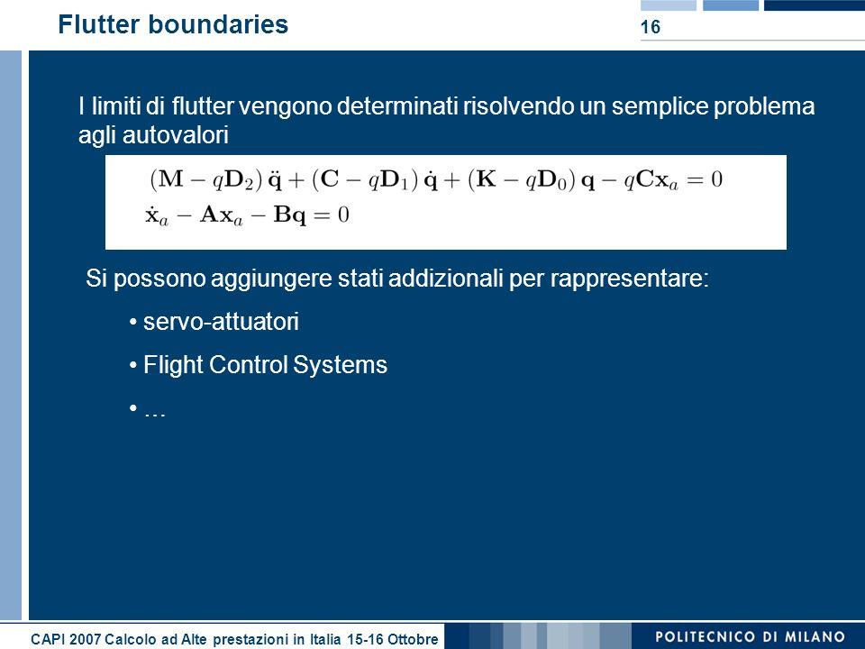 CAPI 2007 Calcolo ad Alte prestazioni in Italia 15-16 Ottobre 16 Flutter boundaries I limiti di flutter vengono determinati risolvendo un semplice pro