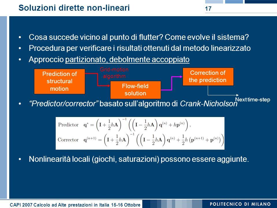 CAPI 2007 Calcolo ad Alte prestazioni in Italia 15-16 Ottobre 17 Soluzioni dirette non-lineari Cosa succede vicino al punto di flutter? Come evolve il