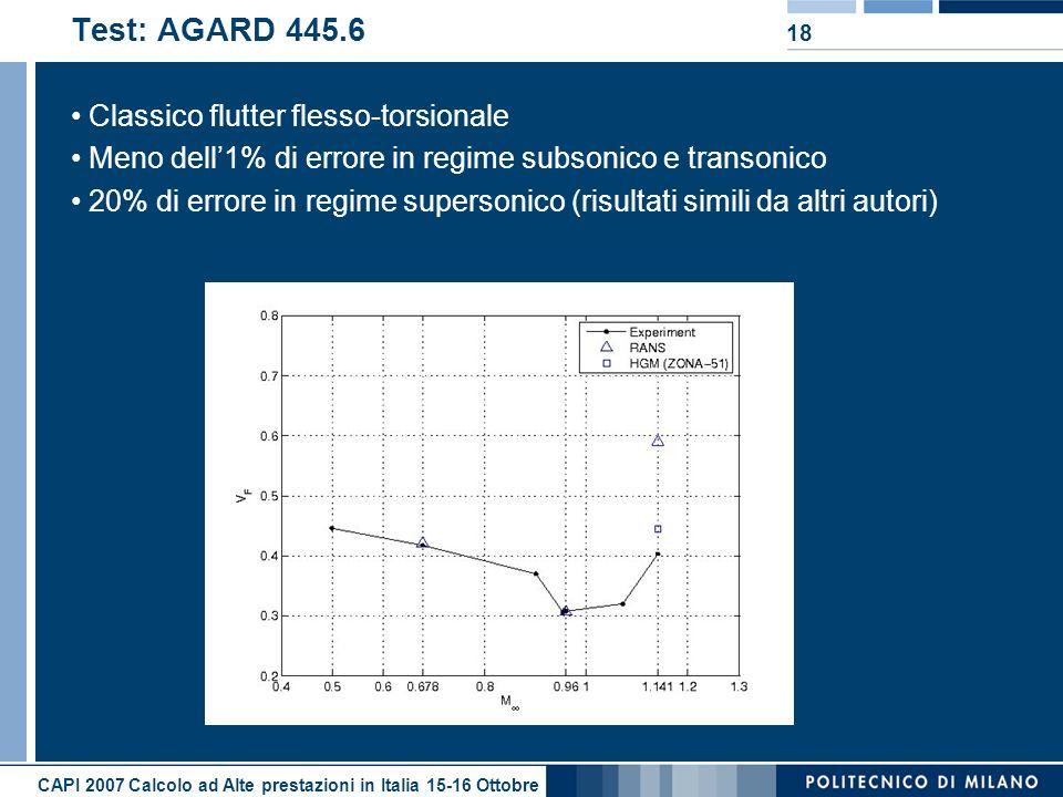 CAPI 2007 Calcolo ad Alte prestazioni in Italia 15-16 Ottobre 18 Test: AGARD 445.6 Classico flutter flesso-torsionale Meno dell1% di errore in regime subsonico e transonico 20% di errore in regime supersonico (risultati simili da altri autori)