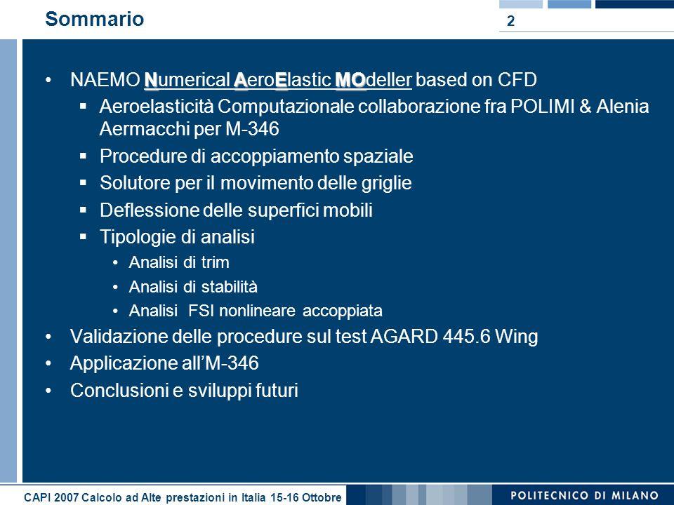 2 Sommario NAEMONAEMO Numerical AeroElastic MOdeller based on CFD Aeroelasticità Computazionale collaborazione fra POLIMI & Alenia Aermacchi per M-346