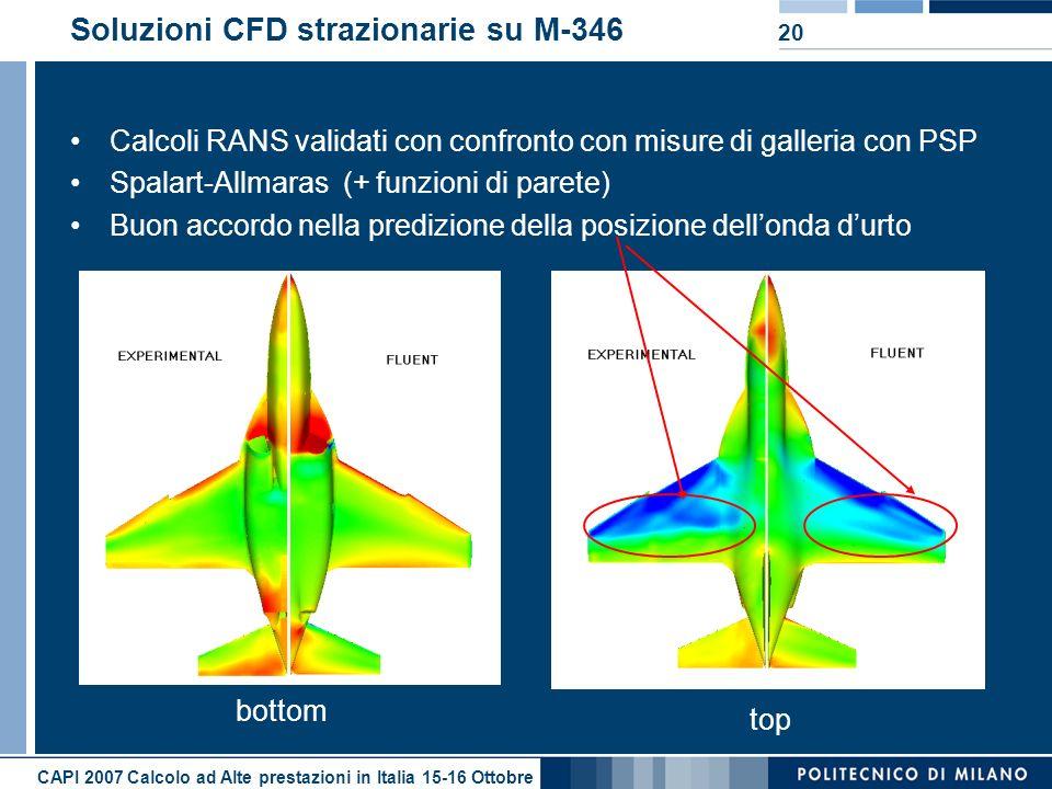 CAPI 2007 Calcolo ad Alte prestazioni in Italia 15-16 Ottobre 20 Soluzioni CFD strazionarie su M-346 Calcoli RANS validati con confronto con misure di