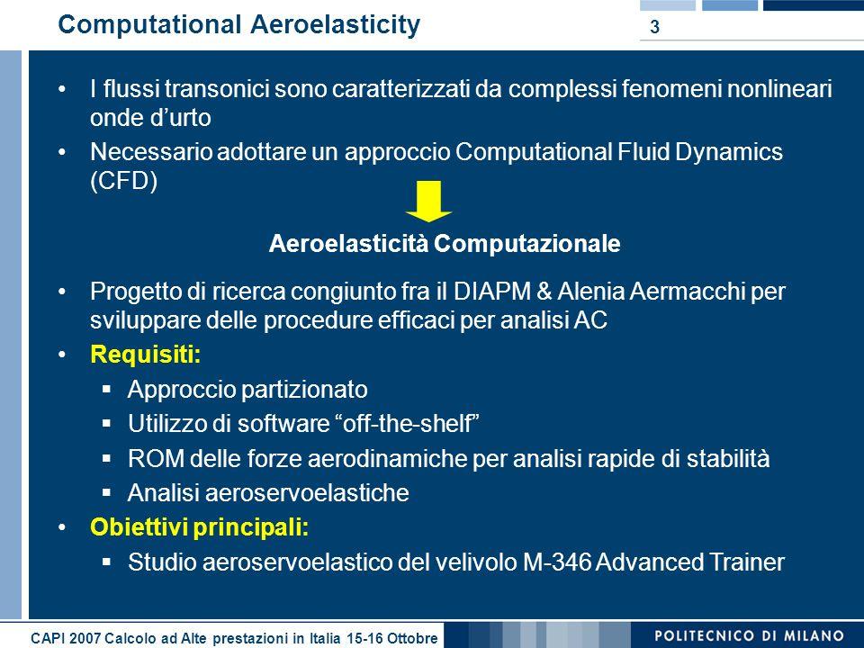 CAPI 2007 Calcolo ad Alte prestazioni in Italia 15-16 Ottobre 3 Computational Aeroelasticity I flussi transonici sono caratterizzati da complessi feno