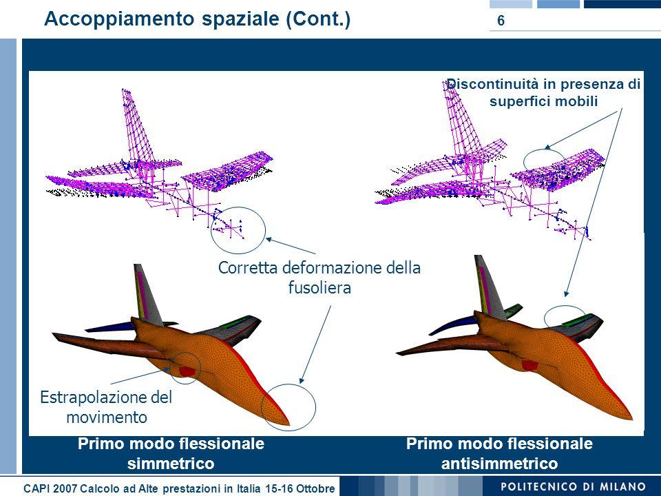 CAPI 2007 Calcolo ad Alte prestazioni in Italia 15-16 Ottobre 6 Accoppiamento spaziale (Cont.) Primo modo flessionale simmetrico Primo modo flessional