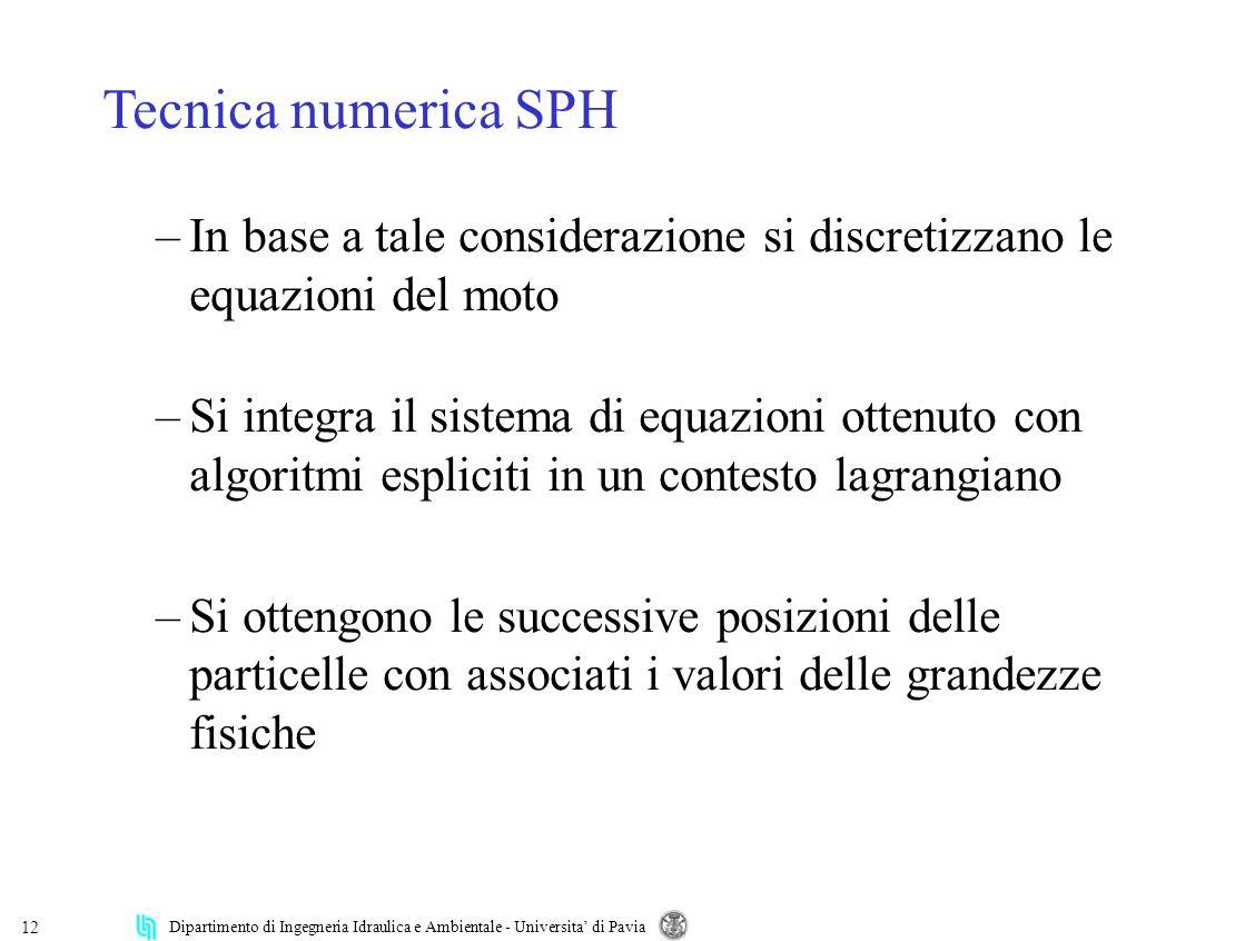 Dipartimento di Ingegneria Idraulica e Ambientale - Universita di Pavia 12 Tecnica numerica SPH –In base a tale considerazione si discretizzano le equ