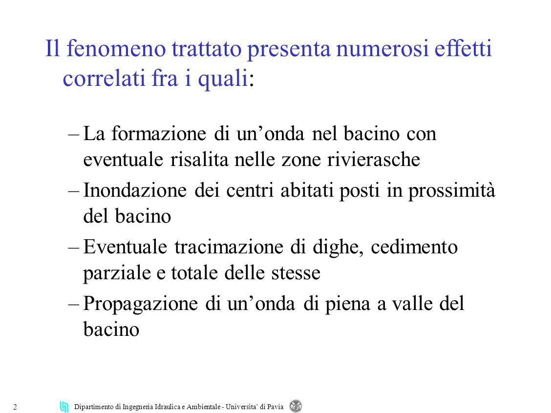 Dipartimento di Ingegneria Idraulica e Ambientale - Universita di Pavia 2 Il fenomeno trattato presenta numerosi effetti correlati fra i quali: –La fo